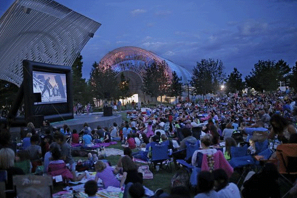 Movie screening at botanical garden