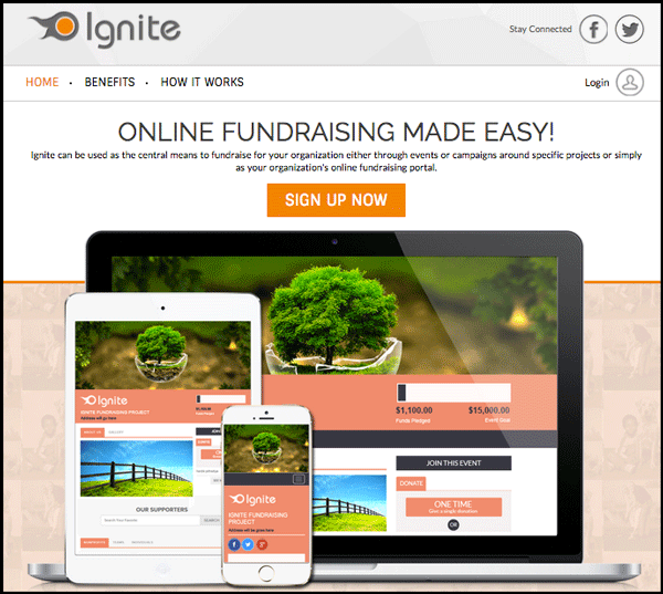 Ignite home page