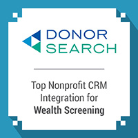 DonorSearch offers nonprofit CRM integrations for their wealth screening and prospect research tools.
