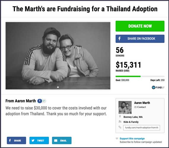Fundraising Ideas for Kids and Families: The Marth's are Fundraising for a Thailand Adoption