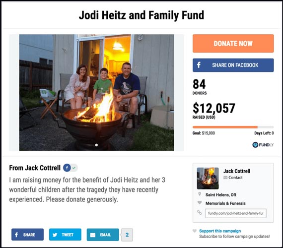 Fundraising Ideas for Memorials and Funerals: Jodi Heitz and Family Fund