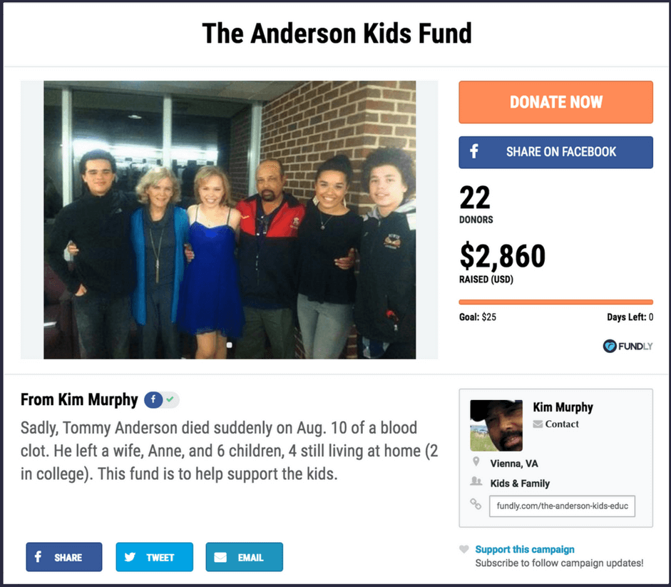 Example of a crowdfunding campaign for kids and families