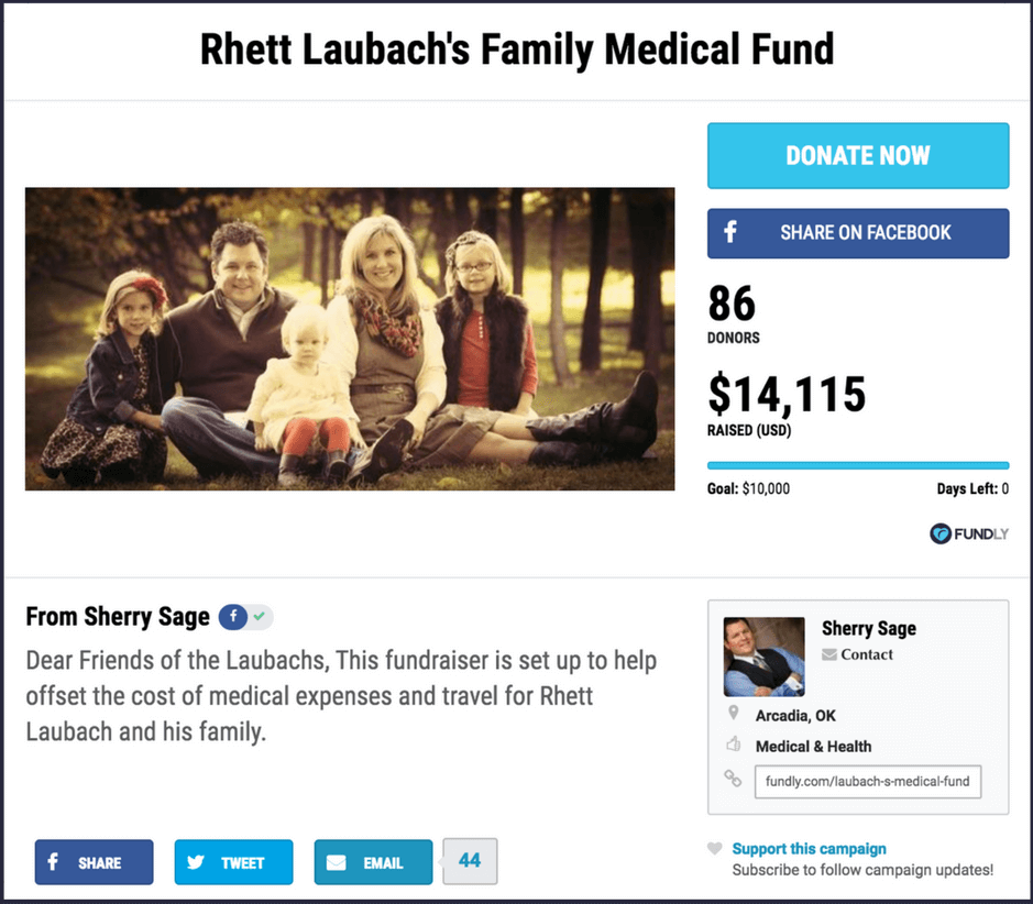 Example of a crowdfunding campaign to raise money for medical expenses