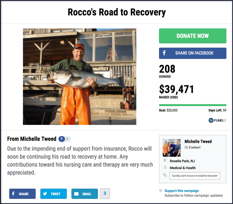 Example of a crowdfunding campaign to raise money for recovery