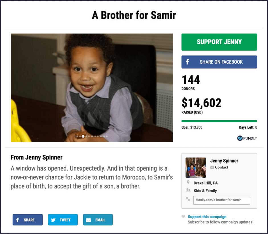 Crowdfunding example: A Brother for Samir