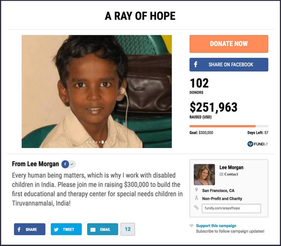 Crowdfunding example: A Ray of Hope