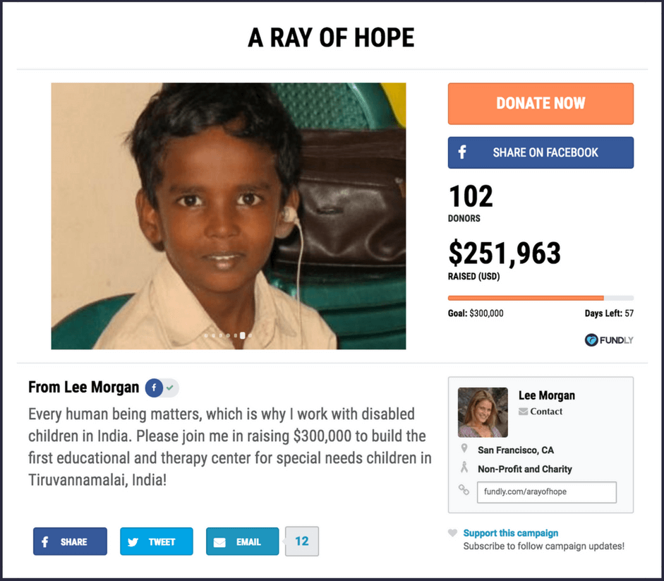 Example of a nonprofit crowdfunding campaign