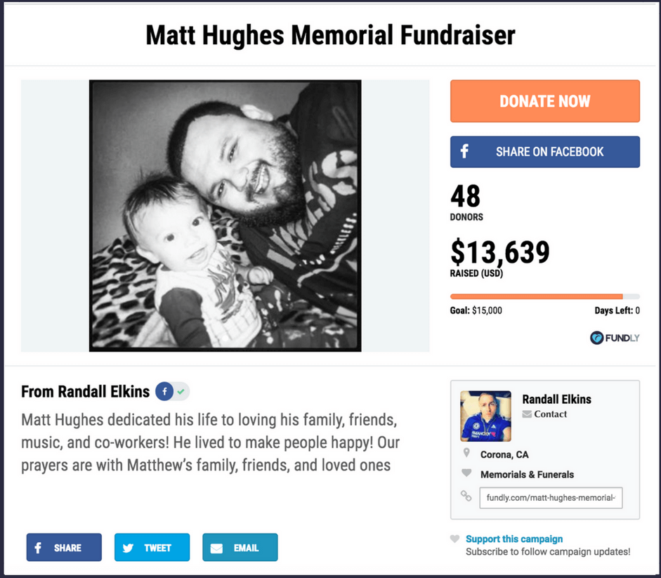 Example of crowdfunding campaign for a memorial fund