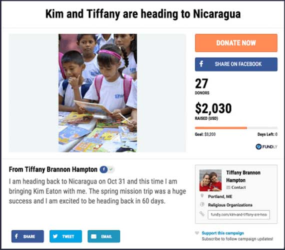 Fundraising Ideas for Churches and Religious Organizations: Kim and Tiffany Are Heading to Nicaragua.