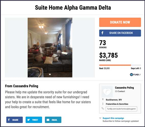 Fundraising Ideas for Fraternities and Sororities: Suite Home Alpha Gamma Delta.