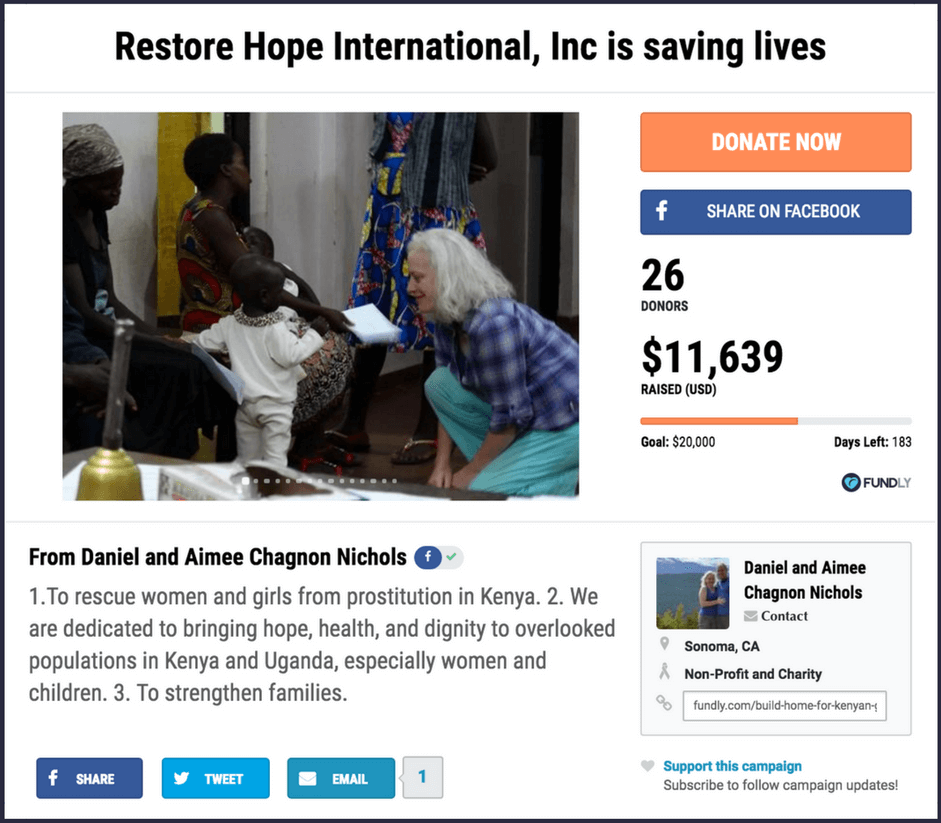 Example of a nonprofit crowdfunding campaign page