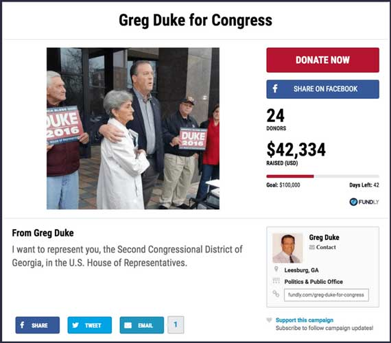 Fundraising Ideas for Politics: Greg Duke for Congress.