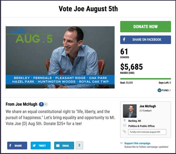 Fundraising Ideas for Politics: Vote Joe August 5th.