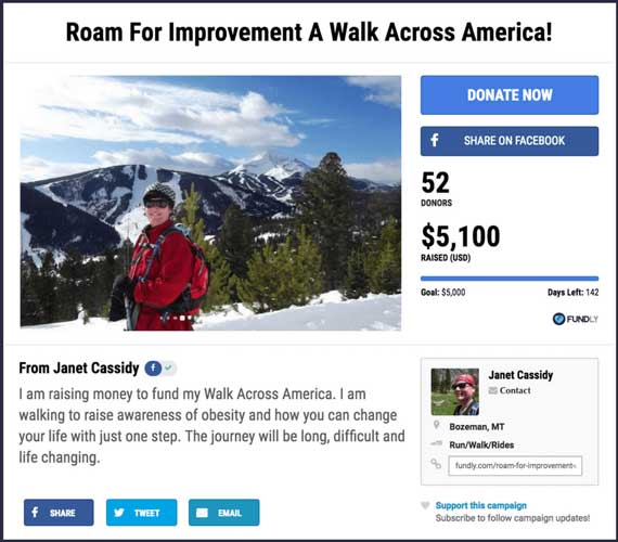 Fundraising ideas for runs, walks, and rides: A Walk Across America.