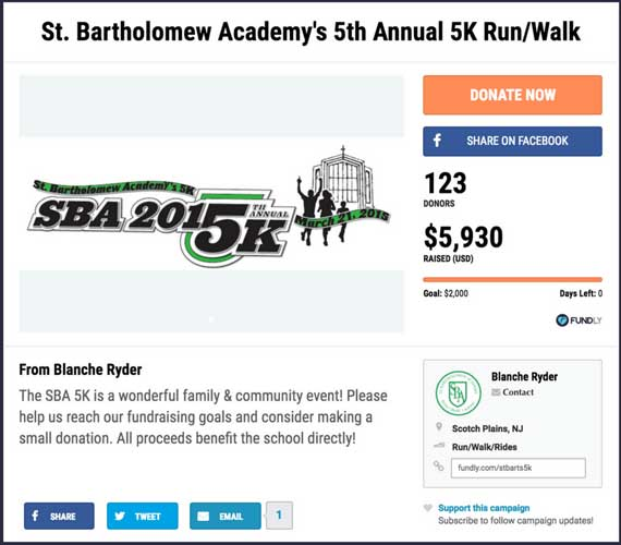 Fundraising ideas for runs, walks, and rides: St. Bartholomew Academy's 5th Annual 5K.