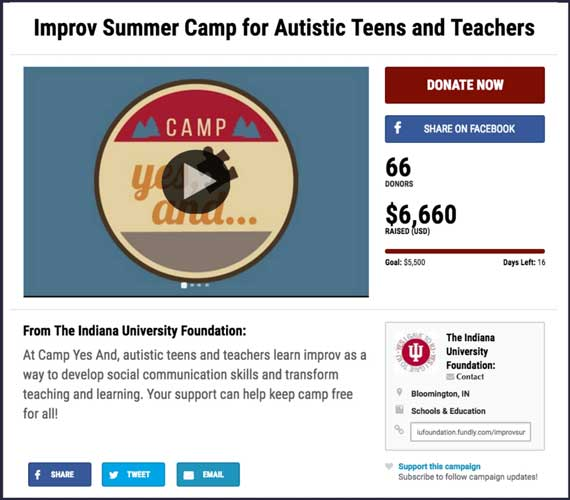crowdfunding campaign for an improv summer camp