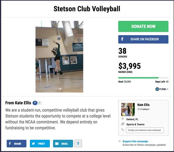 Fundraising Ideas for Sports and Teams: Stetson Club Volleyball