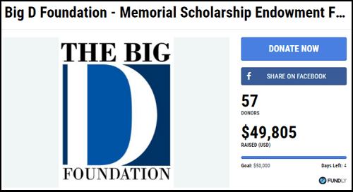 Fundraising Ideas for Memorials and Funerals - Crowdfunding for the Big D Foundation Memorial Scholarship Fund