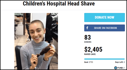Children's Hospital Head Shave Fundraiser for Health Expenses