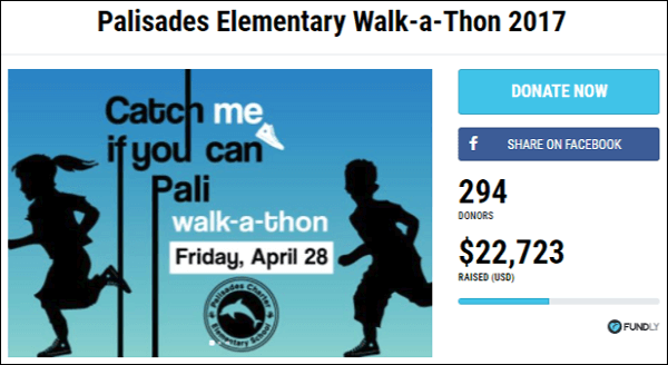 Check out the walkathon Palisades Elementary School organized.