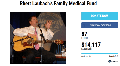 Here is the Rhett Laubach's Family Medical Fund fundraising page.