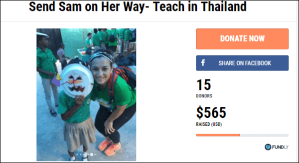 Check out this fundraising campaign Sam is running to teach in Thailand.