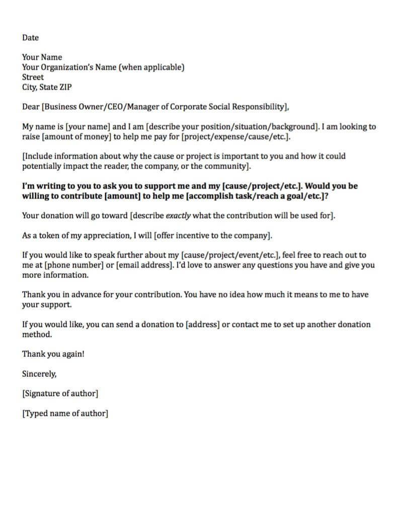 corporate donation request letter template
