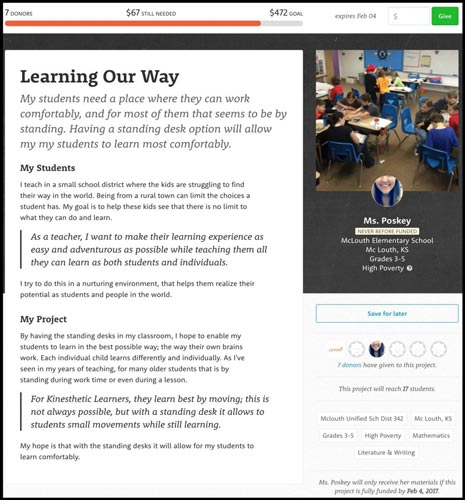 Crowdfunding Websites: Example of a DonorsChoose Campaign.