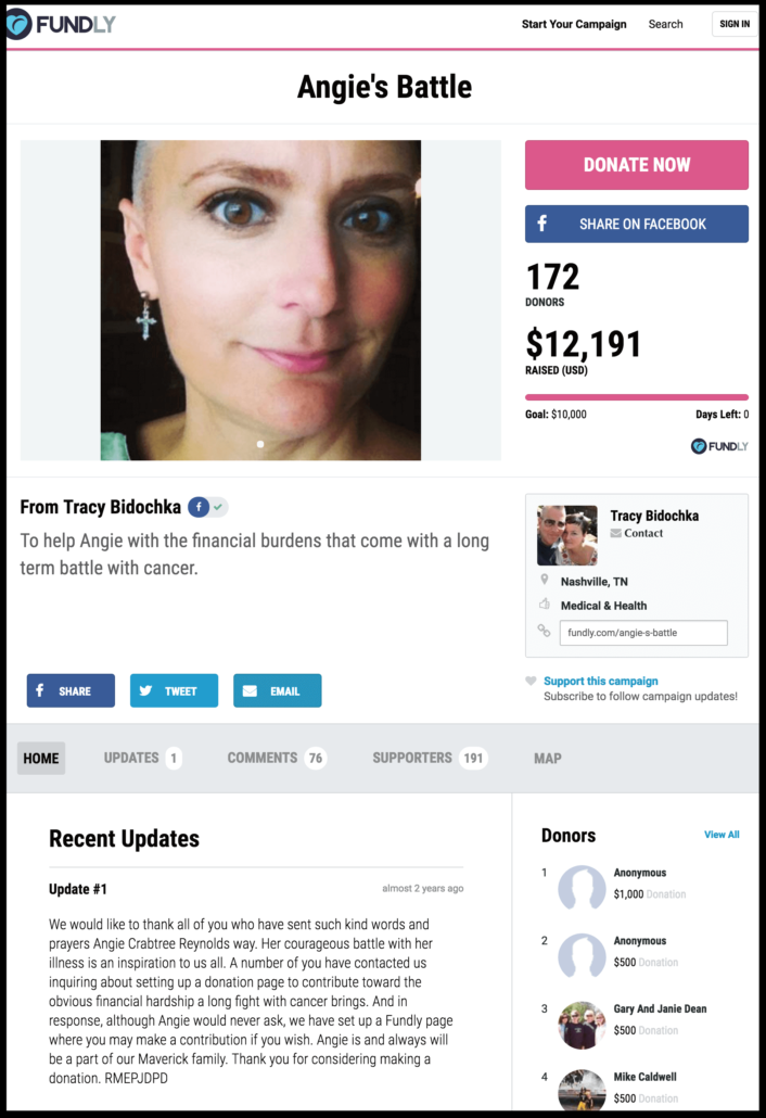 Examples of crowdfunding campaigns for cancer treatment