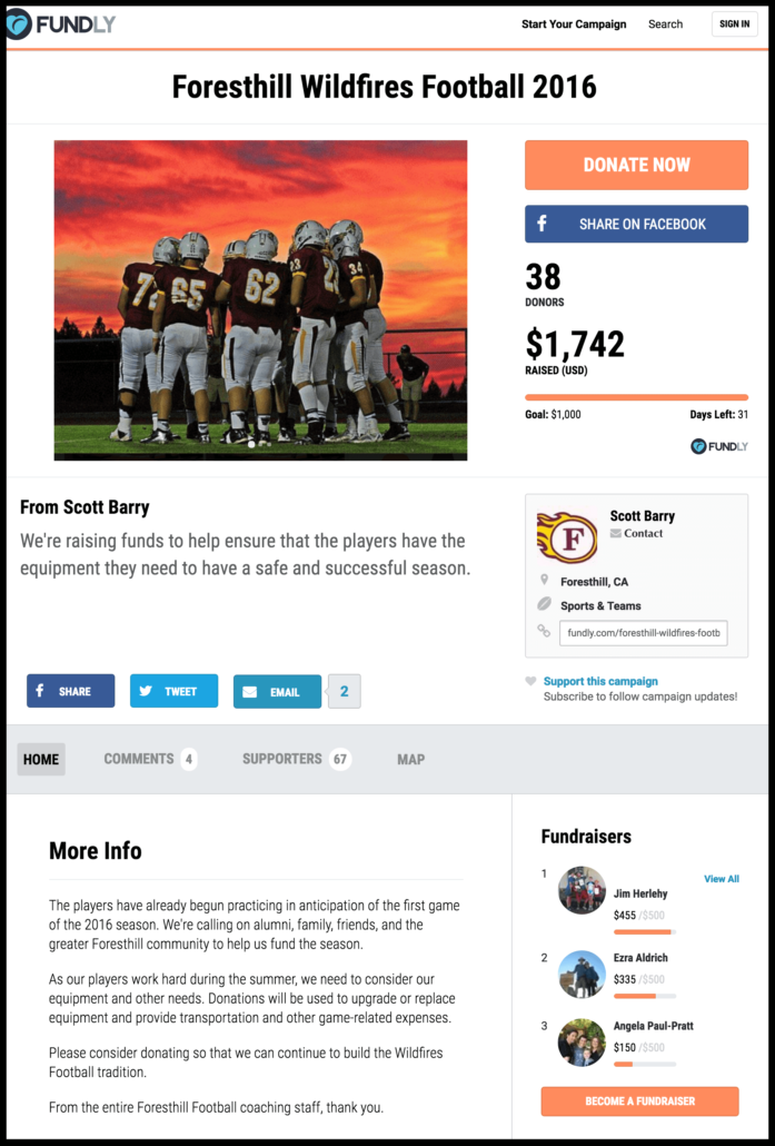 Examples of crowdfunding campaigns for sports and teams