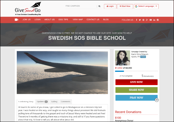 GiveSendGo provides an easy-to-use crowdfunding platform for Christian projects/