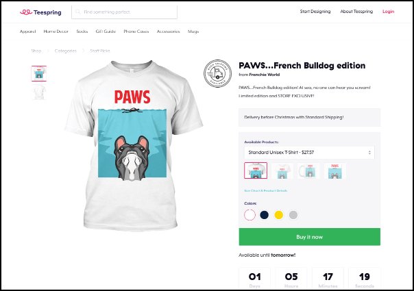 Check out Teespring's product crowdfunding website.