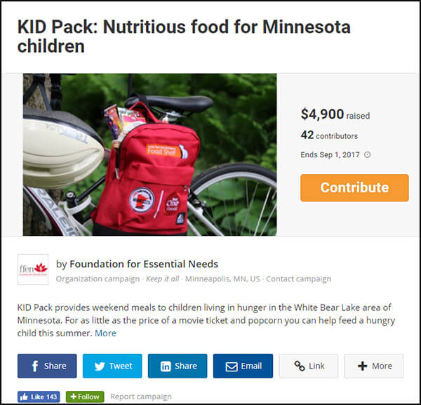 Here's a nonprofit fundraiser run on the Fundrazr crowdfunding website.