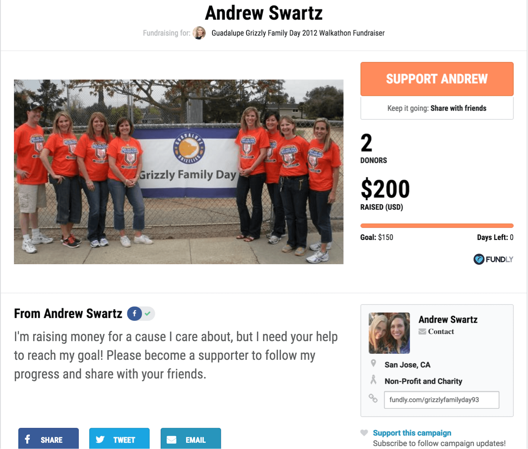 This crowdfunding campaign met its goal, and supported the walkathon in the process.