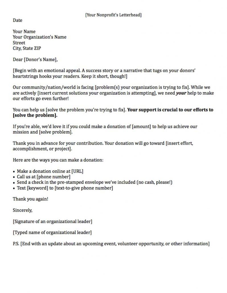 example of a fundraising letter asking for general donations