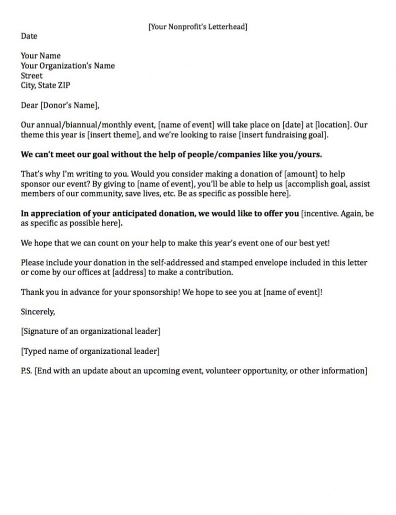 Example of a Fundraising Letter Asking for Sponsorship