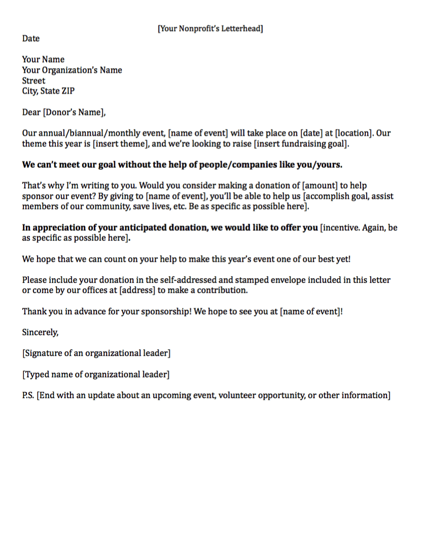 Fundraising Letters How to Craft a Great Fundraising Appeal – Letter for Sponsorship for Event