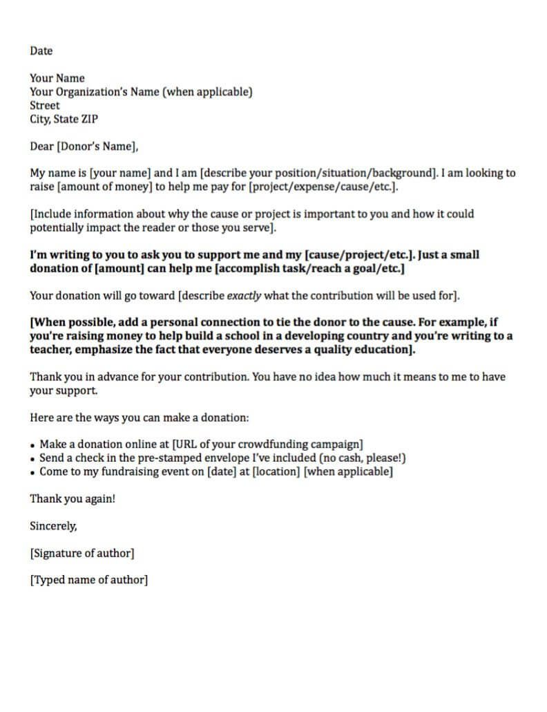 Example Of A General Donation Request Letter  Personal Sponsorship Letter