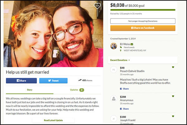 Here's an example from crowdfunding website, GoFundMe.