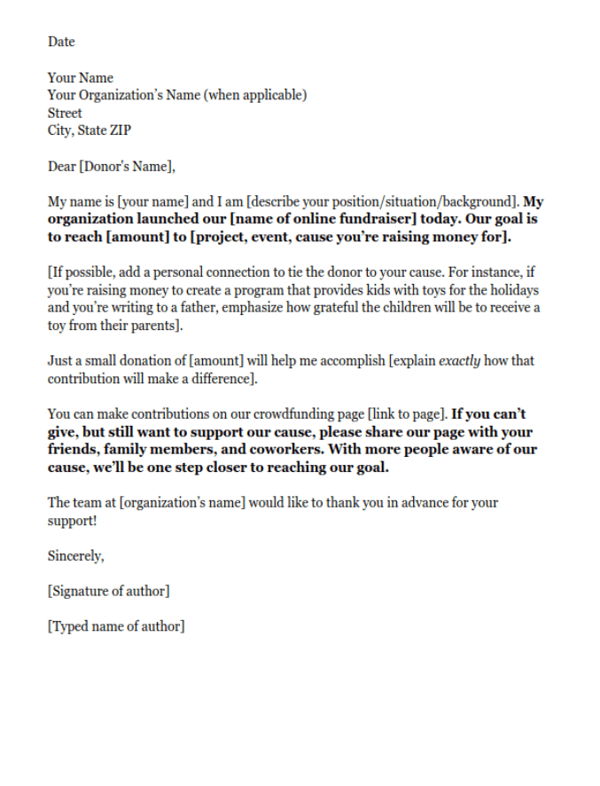 example of a fundraising letter asking for online donations