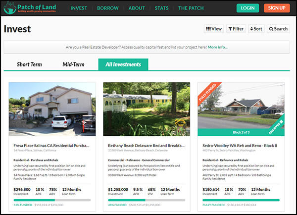 Patch of Land is a top peer real estate lending marketplace.