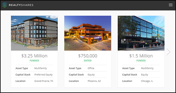 RealtyShares is a real estate crowdfunding site.