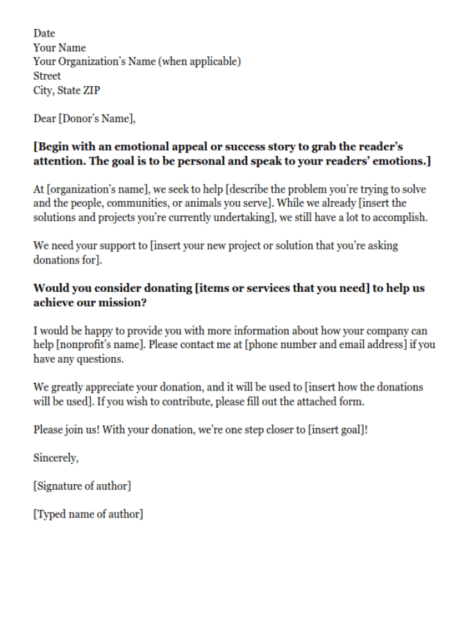 Example of an In-Kind Donation Request Letter