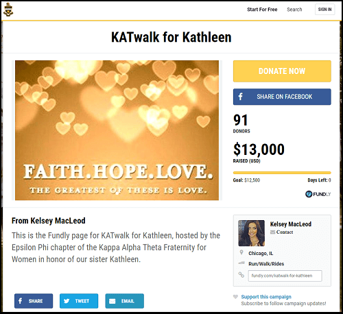 KATWalk for Katlheen was a successful crowdfunding campaign for a walkathon run by a sorority.