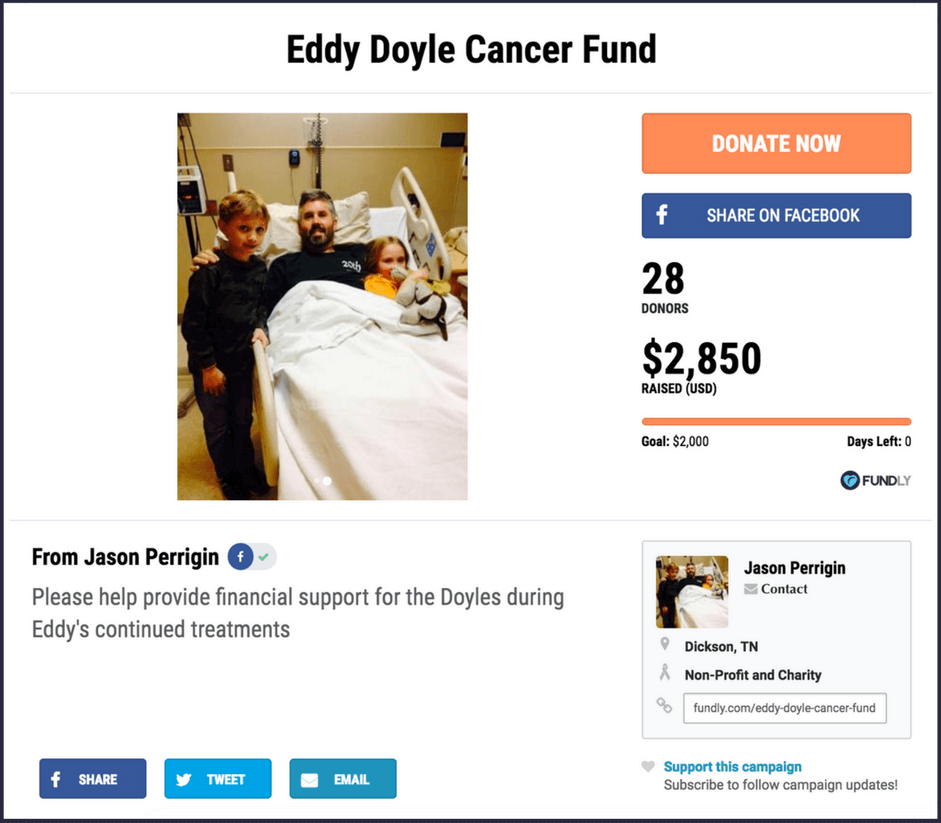 Crowdfunding campaign example - fundraising ideas for cancer