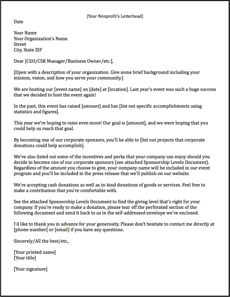 Sponsorship Letters Learn How to Raise More Money With Examples – How to Write Sponsor Letter