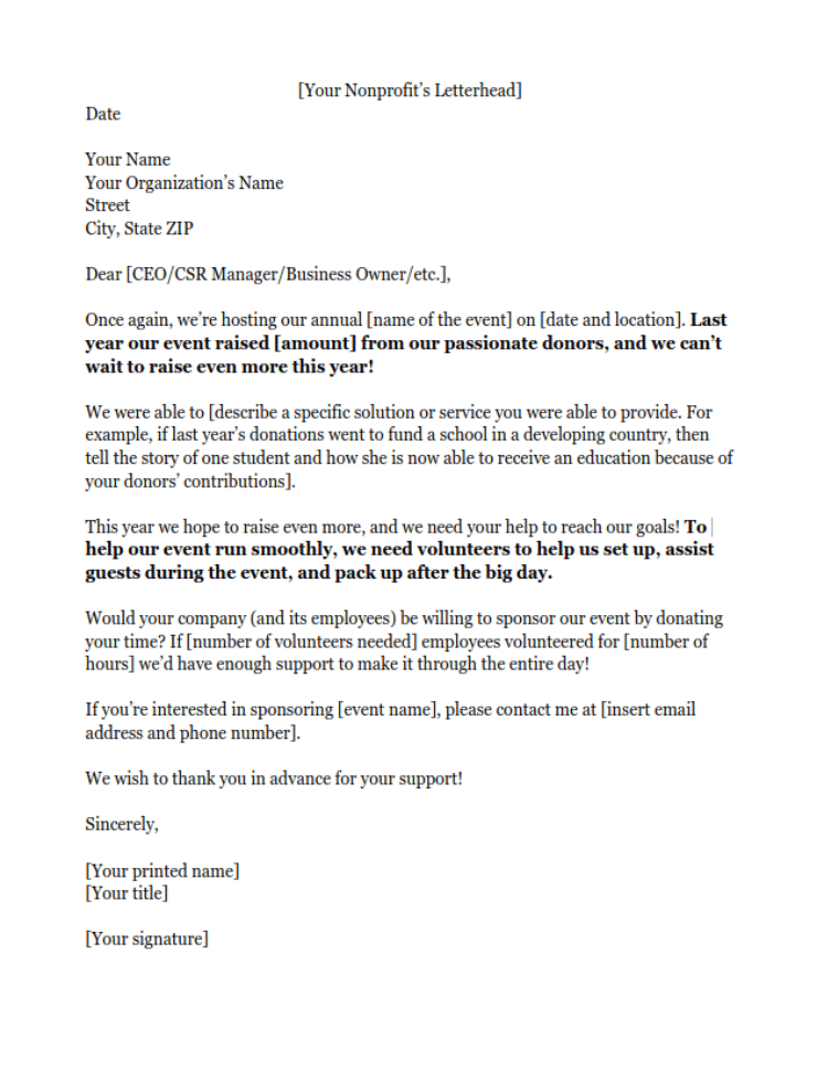 Sponsorship Letters Learn How to Raise More Money With Examples – Sample of a Sponsorship Letter