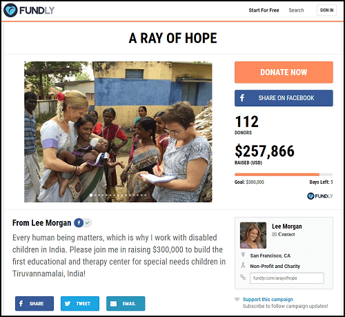 A Ray of Hope is well on its way to its massive crowdfunding community service project goal.