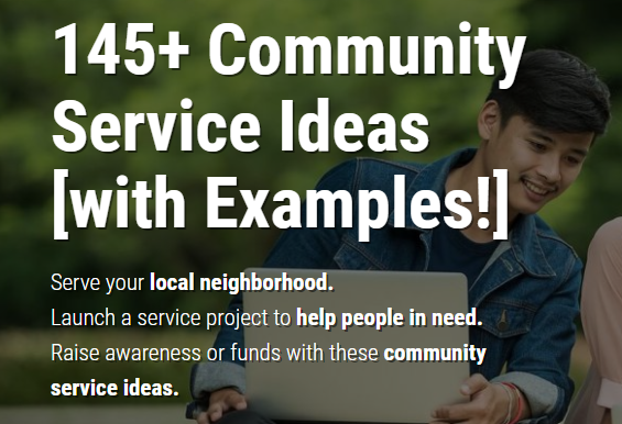 145  community service ideas for students  families  and