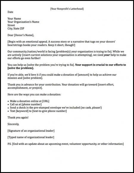 get inspiration for writing compelling copy from this fundraising letter template